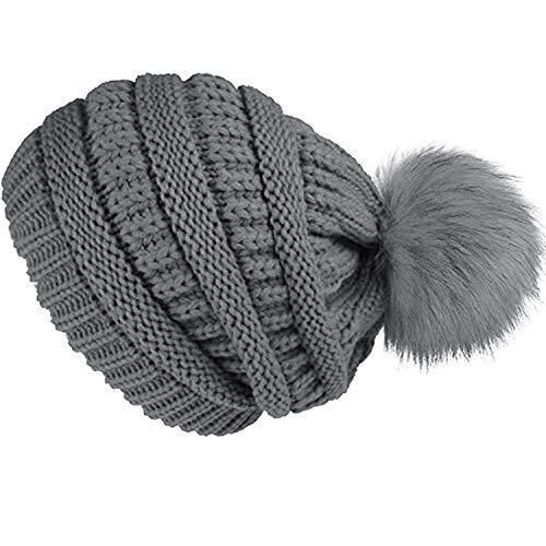 26c08904e15 Double Couple Womens Beanie Hat with Pom Winter Knit Hats Thick Slouchy  Skull  DoubleCouple