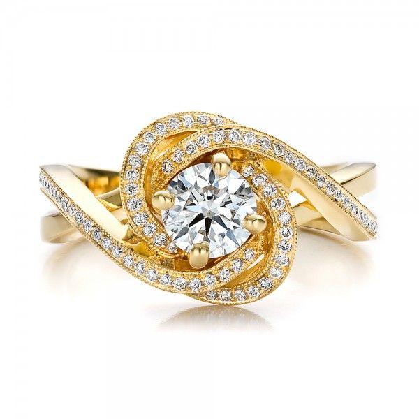 Custom Yellow Gold and Diamond Engagement Ring Engagement Diamond