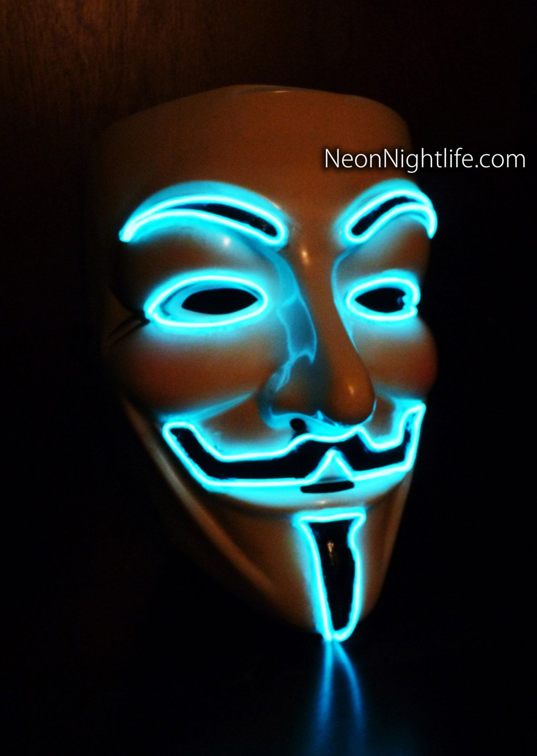 Glowing V For Vendetta Guy Fawkes Mask Battery Powered Rave Wear Glow In The Dark Masquerade Light Up L Guy Fawkes Mask Guy Rave Outfits Glow In The Dark