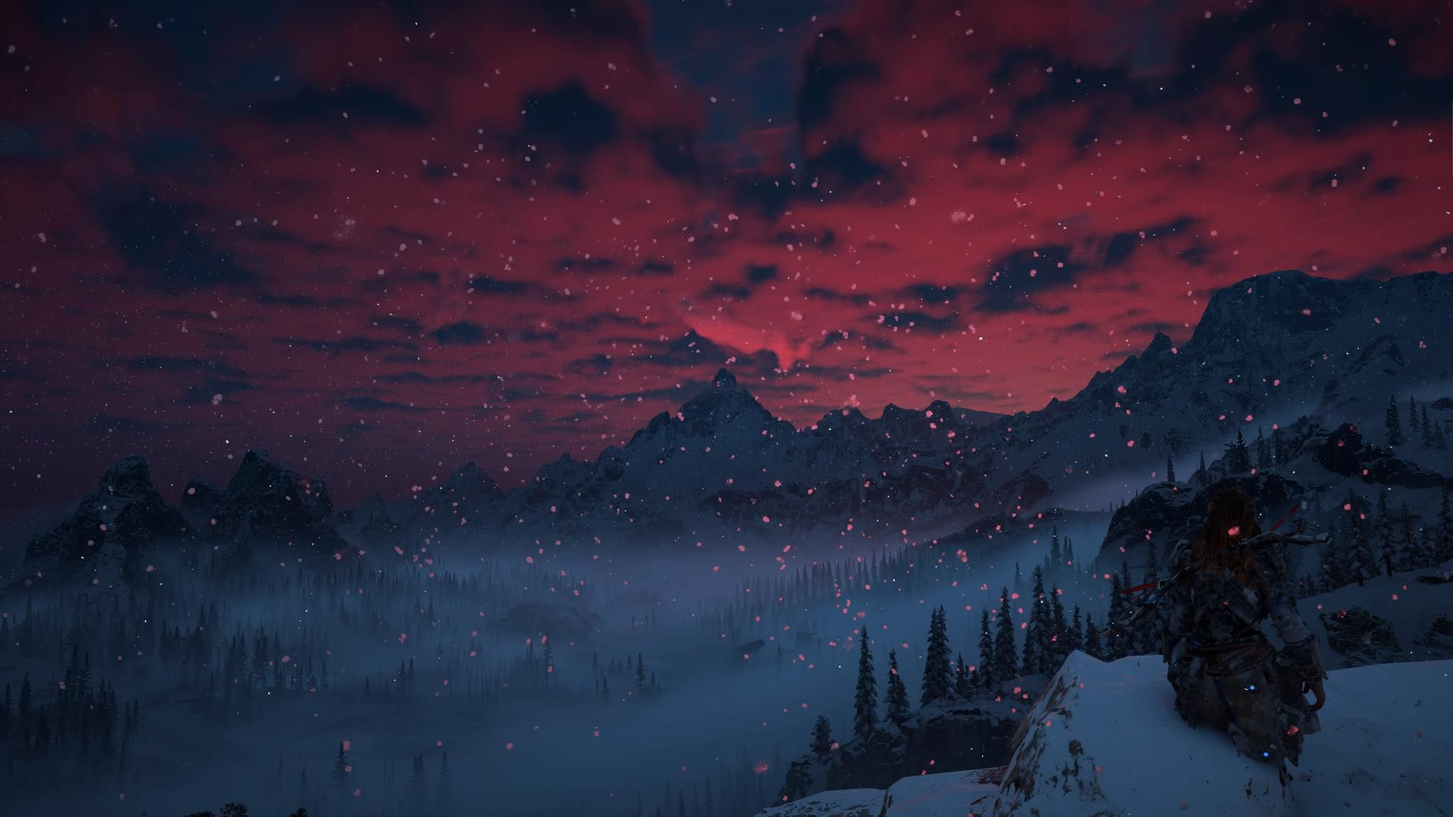 [Horizon Zero Dawn] [Screenshot] Red Sky Over Mountains in The Frozen Wilds.