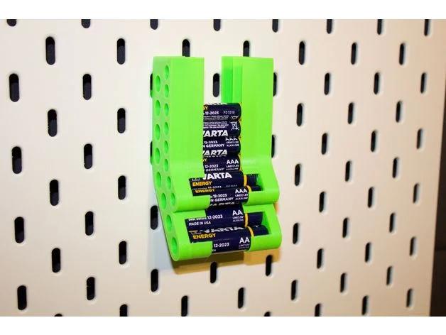 Ikea Skadis Aa Aaa Battery Tray By Fukar Thingiverse Aaa Batteries Ikea Tool Holder