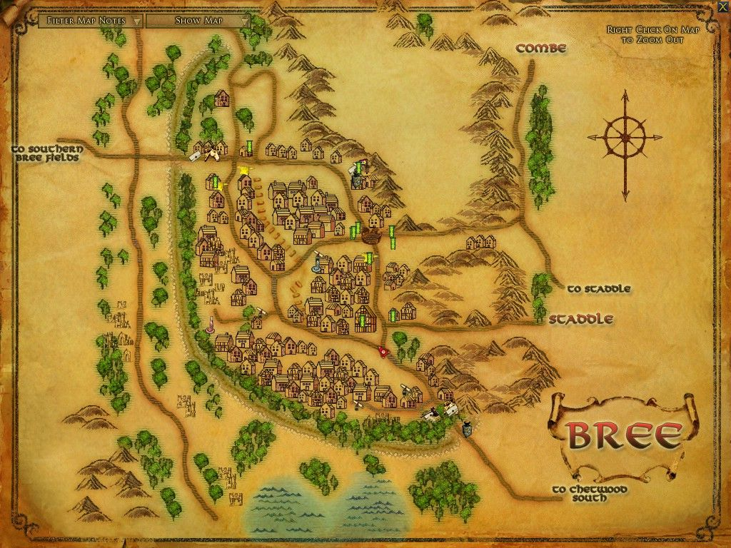 Map of Bree   LotR | Maps from Book World | Fantasy world map