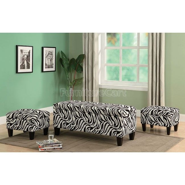 Pleasing Zebra Print Storage Bench W 2 Ottomans Furniturecart Machost Co Dining Chair Design Ideas Machostcouk