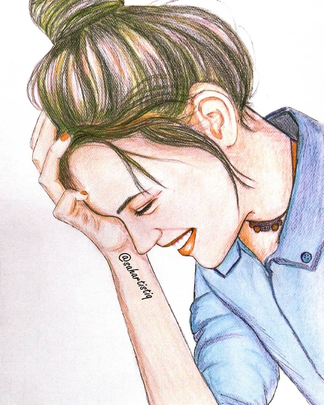 Sketch Of A Girl Art Drawing Sketch Pencil Colours Love Sketching Artist Artwork Saha Color Pencil Sketch Color Pencil Art Art Drawings Beautiful
