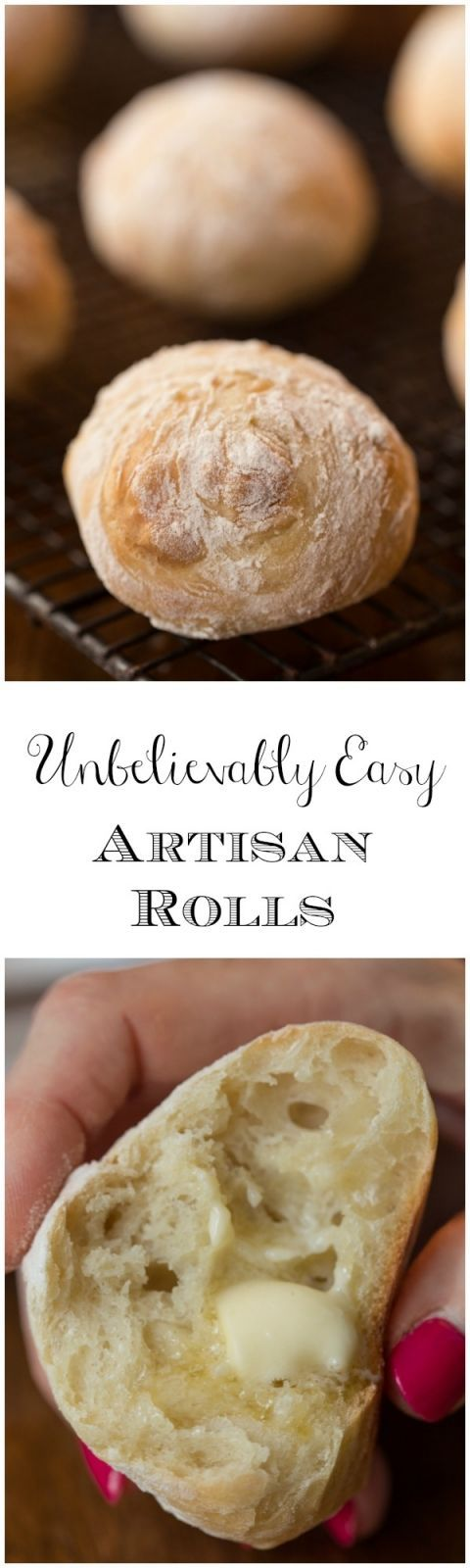 Easy Artisan Rolls These easy artisan rolls truly are unbelievably easy. Stir up the dough then go enjoy a good sleep. In the morning, shape and bake. Unbelievably delicious too!These easy artisan rolls truly are unbelievably easy. Stir up the dough then go enjoy a good sleep. In the morning, shape and bake. Unbelievably delicious too!