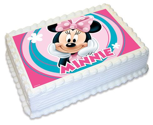 """MINNIE MOUSE 7.5/"""" ROUND CAKE TOPPER WAFER CARD RICE PAPER /& 18 CUPCAKE TOPPERS 2"""