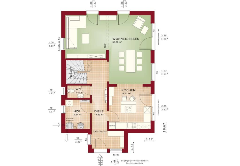 Haus Grundriss EG mit offener Küche - Fertighaus Celebration 137 - küche mit kochinsel grundriss
