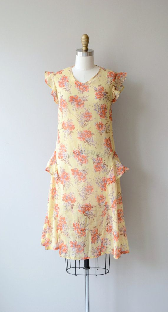 Indian Summer dress | vintage 1920s dress | floral print 20s dress