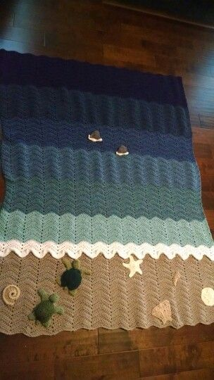 Crochet afghan - My Beach Scene...do you see the sharks swimming in ...