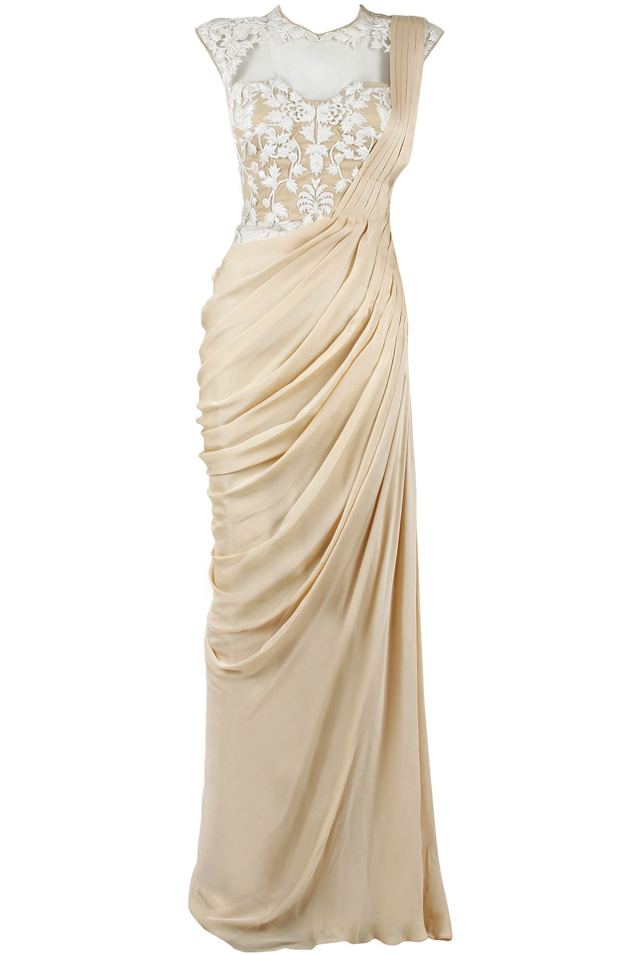 Nude and ivory pre stitched sari-gown available only at Pernia\'s Pop ...