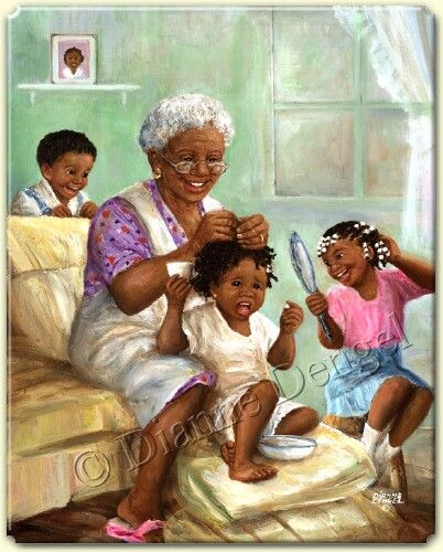 girl grandma with black Young