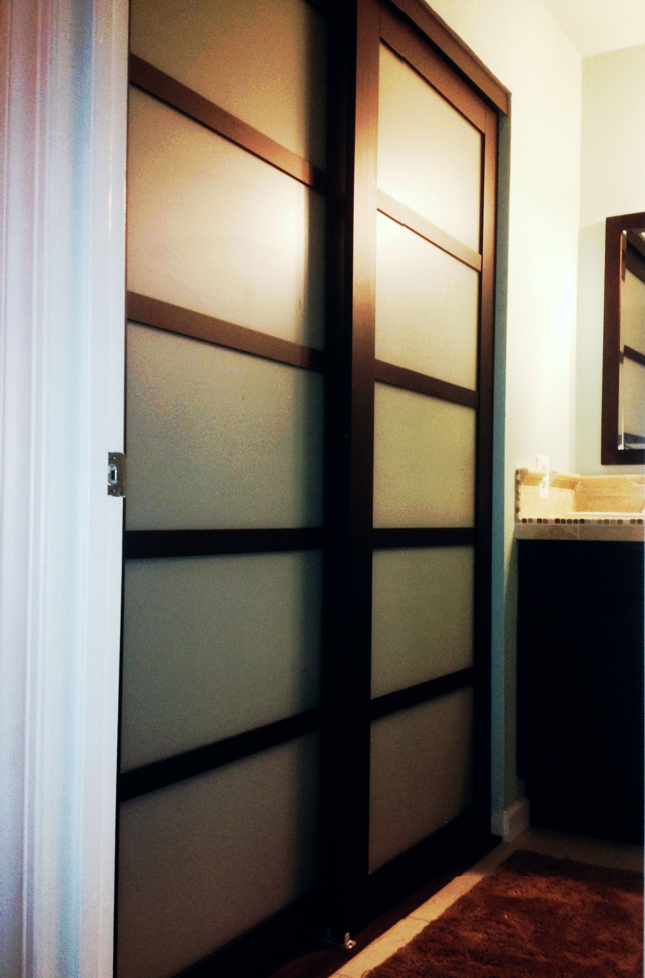 Custom Made Sliding Shoji Closet Doors with Synskin Panels