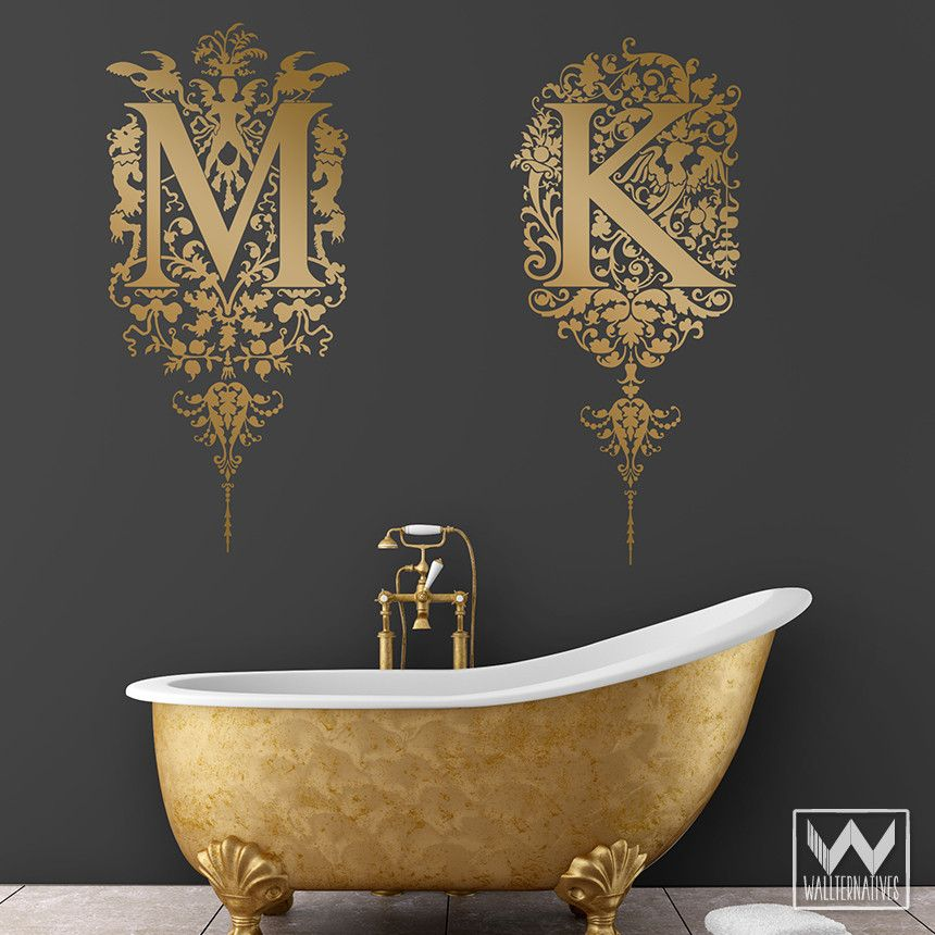 Stick On Monogram Letter Saying Quote Initial Name Vinyl Wall Decal | Wallternatives & Ornate Floral Fairies Monogram Vinyl Wall Decal | Wall decals Walls ...