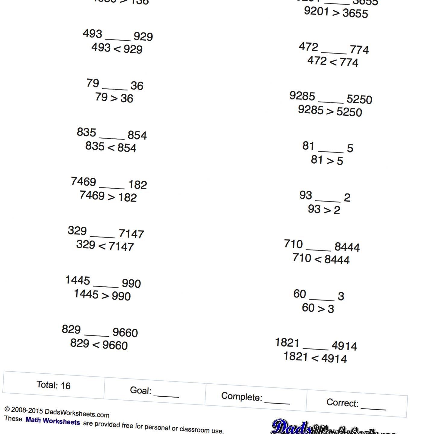 Math Worksheets Simple Greater Than And Less Than Tests