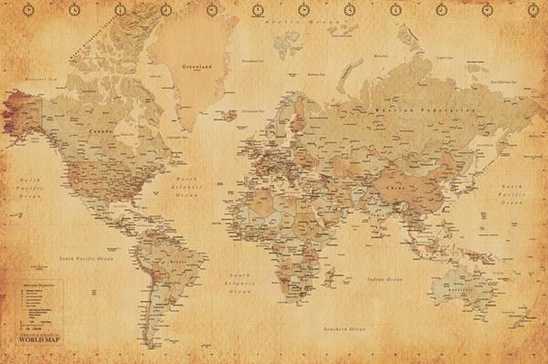 Antique world map poster full size 24x36 print vintage style map antique world map available on amazon modge podge to a cork board and frame gumiabroncs