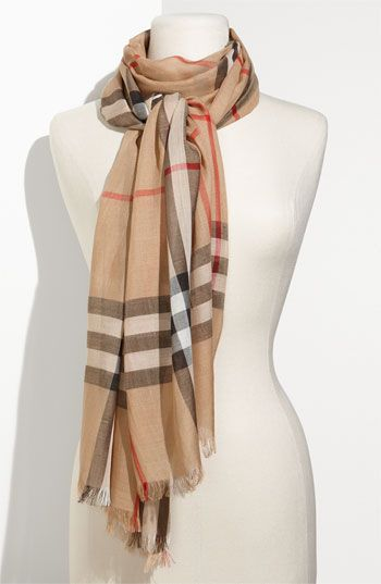 Burberry classic giant check wool & silk camel plaid scarf ...