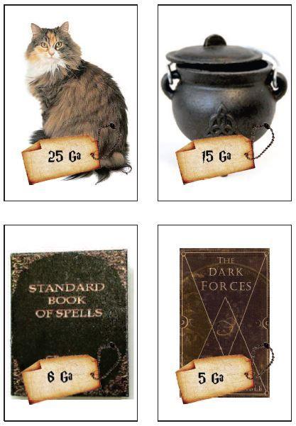 Cartes de jeux de rôles pour acheter les fournitures sur Diagon Alley.