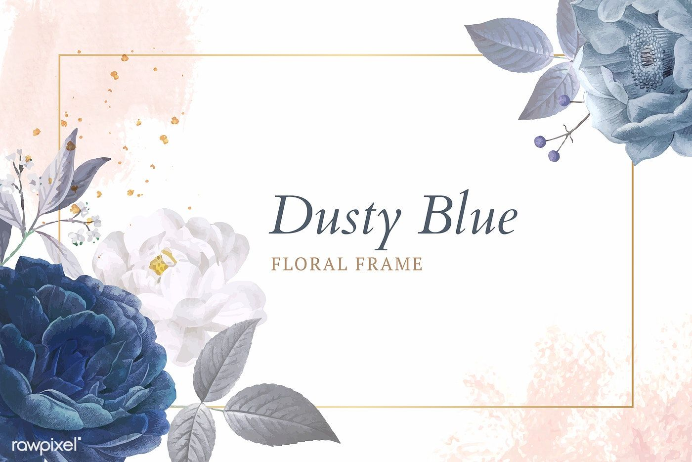 Download Premium Vector Of Dusty Blue Roses Frame Template Vector