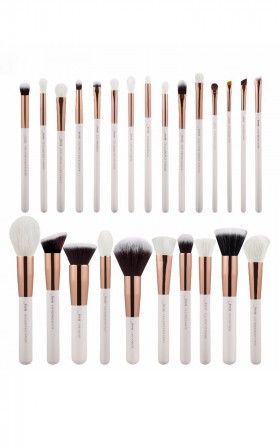 Makeup Brush Set In White And Rose Gold 25 Pc In 2020 Makeup Brush Set Makeup Brushes Affordable Makeup Brushes