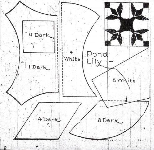 Quilt Pattern: Pond Lily block pattern vintage 1933