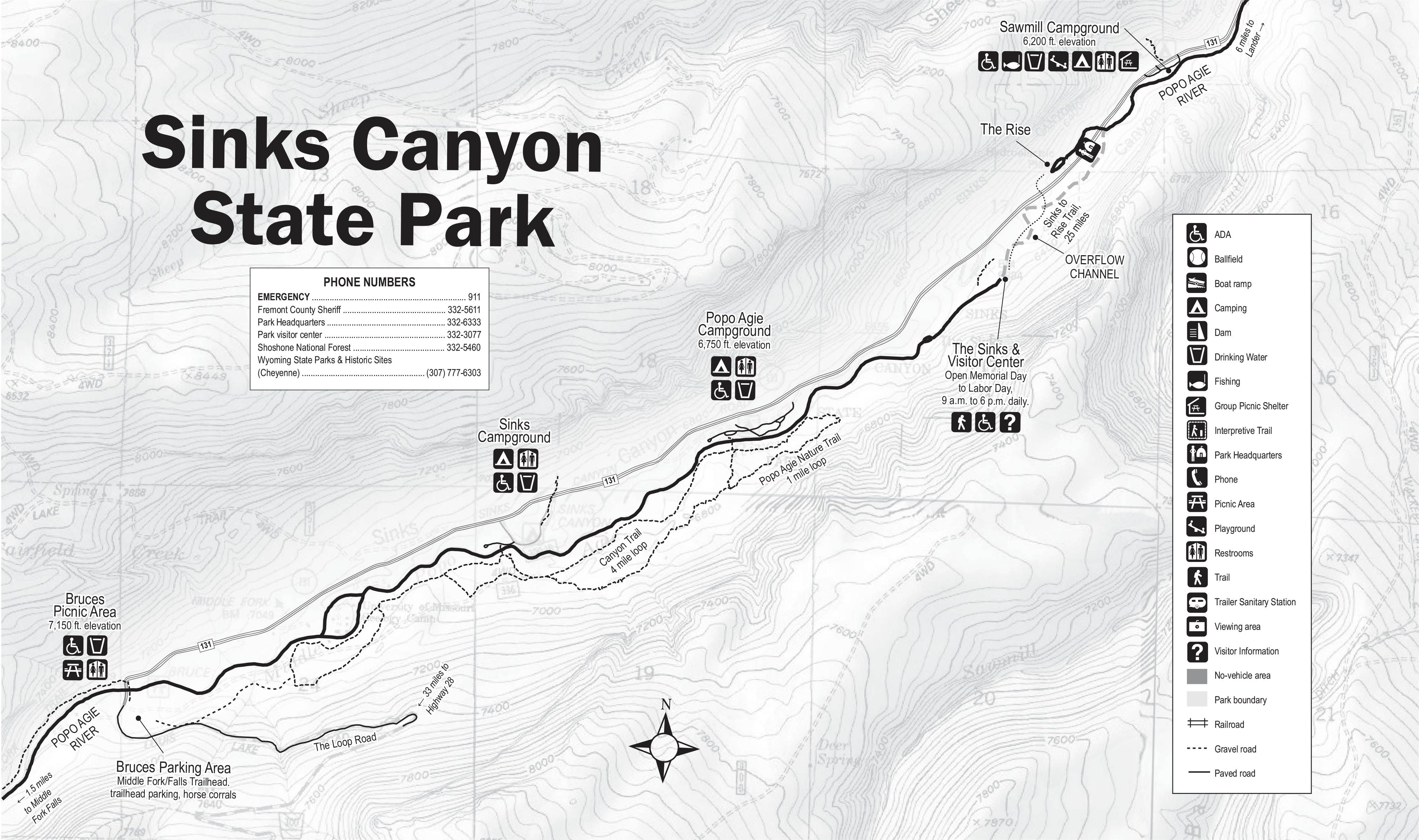 Map Of Sinks Canyon State Park State Parks Sinks Canyon States