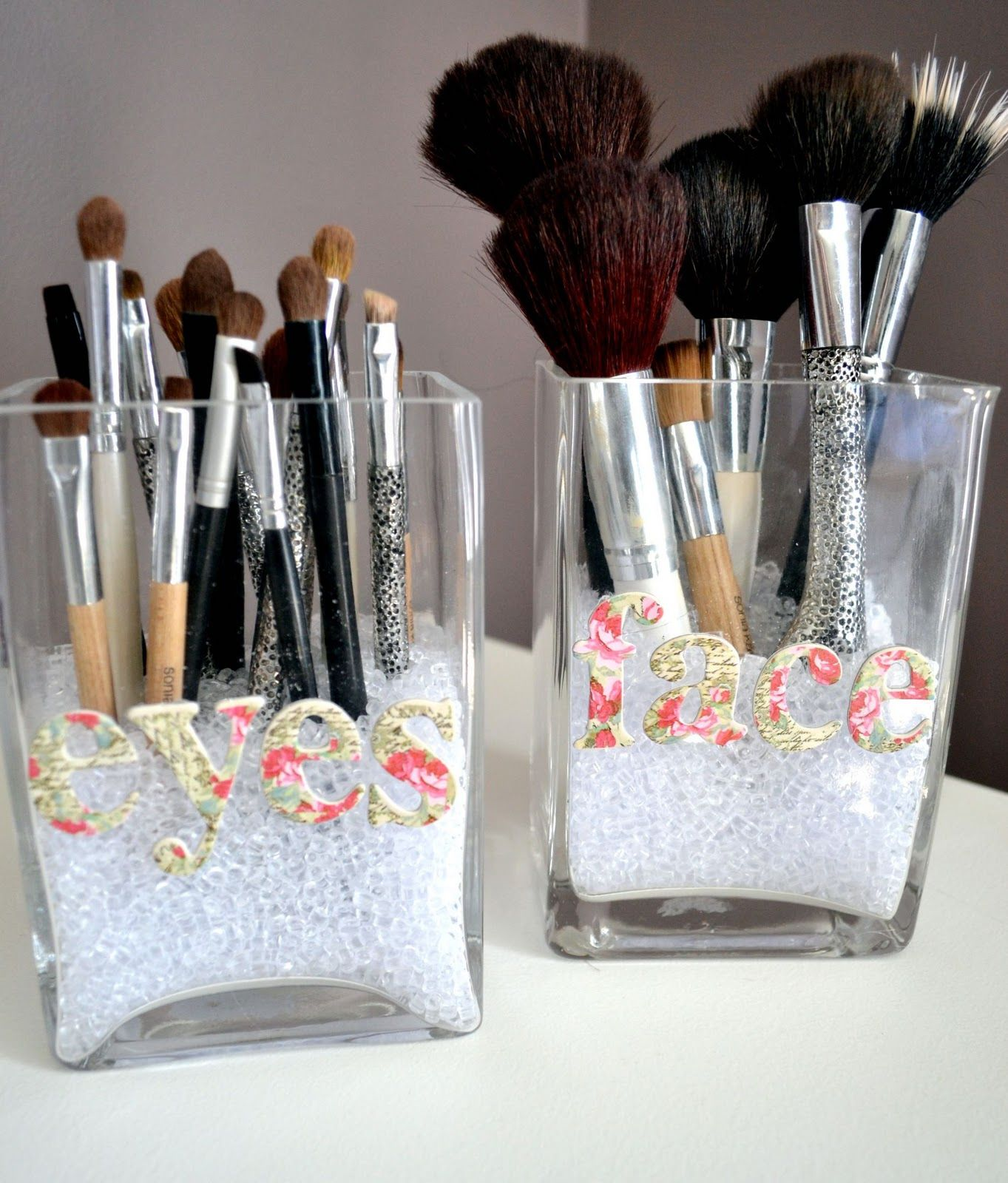 Make Up Brush Storage. Two Jars (I Chose A Square Shape), Letter