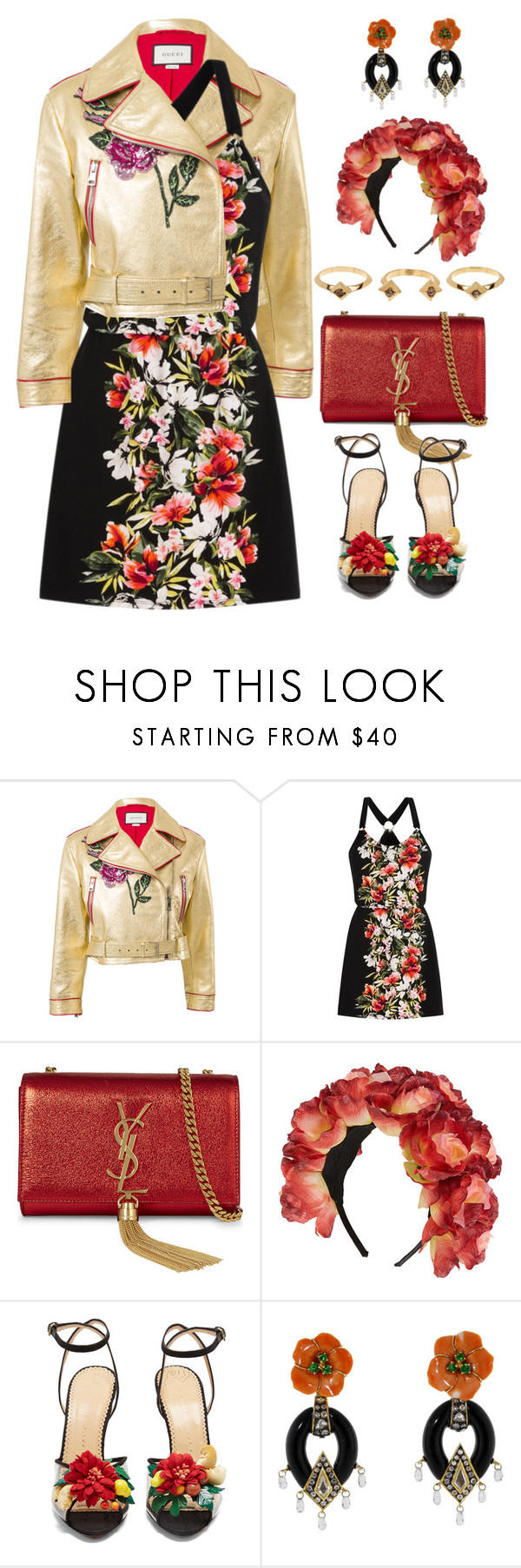 """Untitled #475"" by froyalbiatsii ❤ liked on Polyvore featuring Gucci, White House Black Market, Yves Saint Laurent, Topshop, Charlotte Olympia, Lotus Arts de Vivre, House of Harlow 1960 and Flowers"