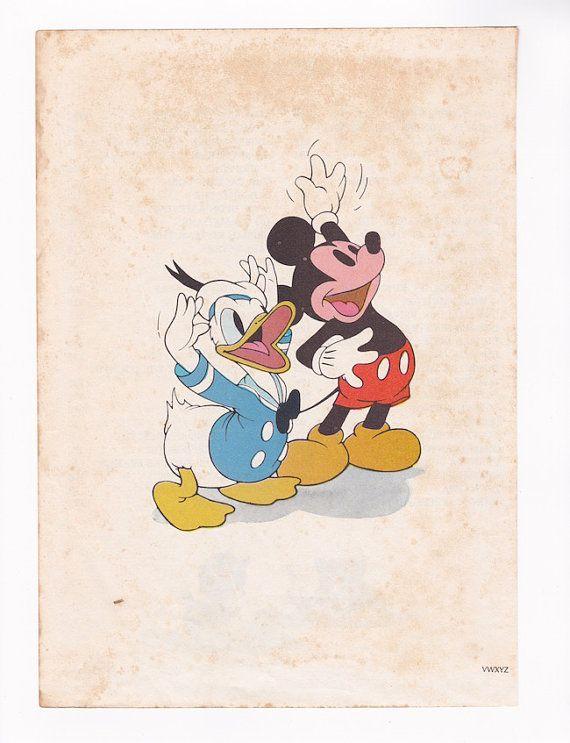 Mickey Mouse Donald Duck Disney Wall Art Vintage Illustration Walt Disneyu0027s & $8.00. Mickey Mouse Donald Duck Disney Wall Art Vintage ...