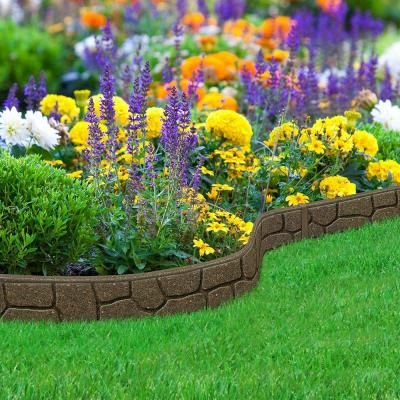 Multy Home Ez Border Stones 4 Ft Earth Rubber Garden Edging 6 Pack Mt5001186 The Home Depot Garden Lawn Edging Garden Edging Garden Edging Stones