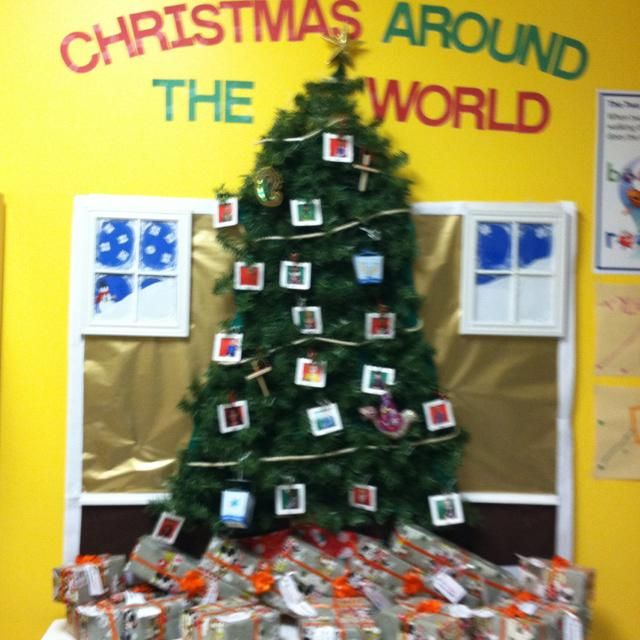 christmas around the world christmas tree bulletin board - Christmas Around The World Decorations