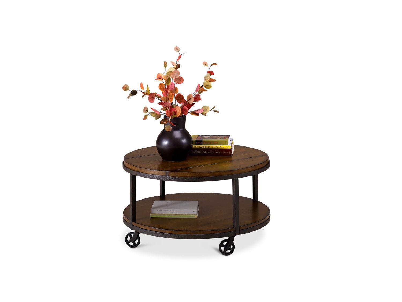 Hammary Baja Round Coffee Table Round Wood Coffee Table Coffee Table Wood Coffee Table With Wheels [ 1600 x 1600 Pixel ]