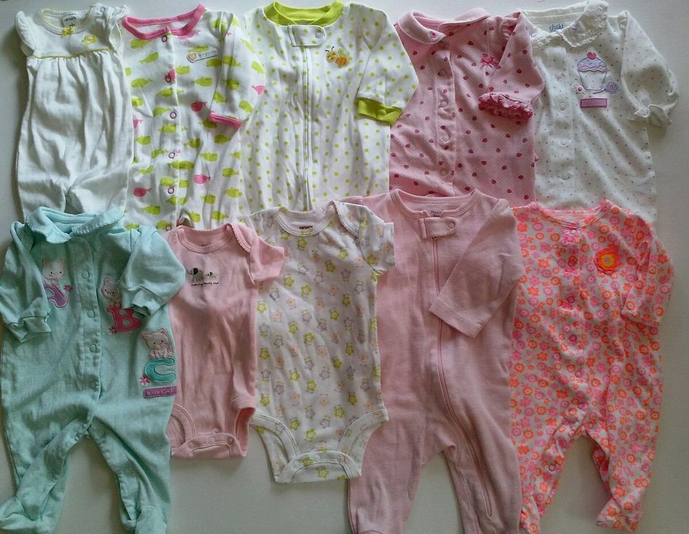 75402027b USED BABY GIRL Size Newborn 0-3 Months Sleepers Clothes LOT Fall Winter