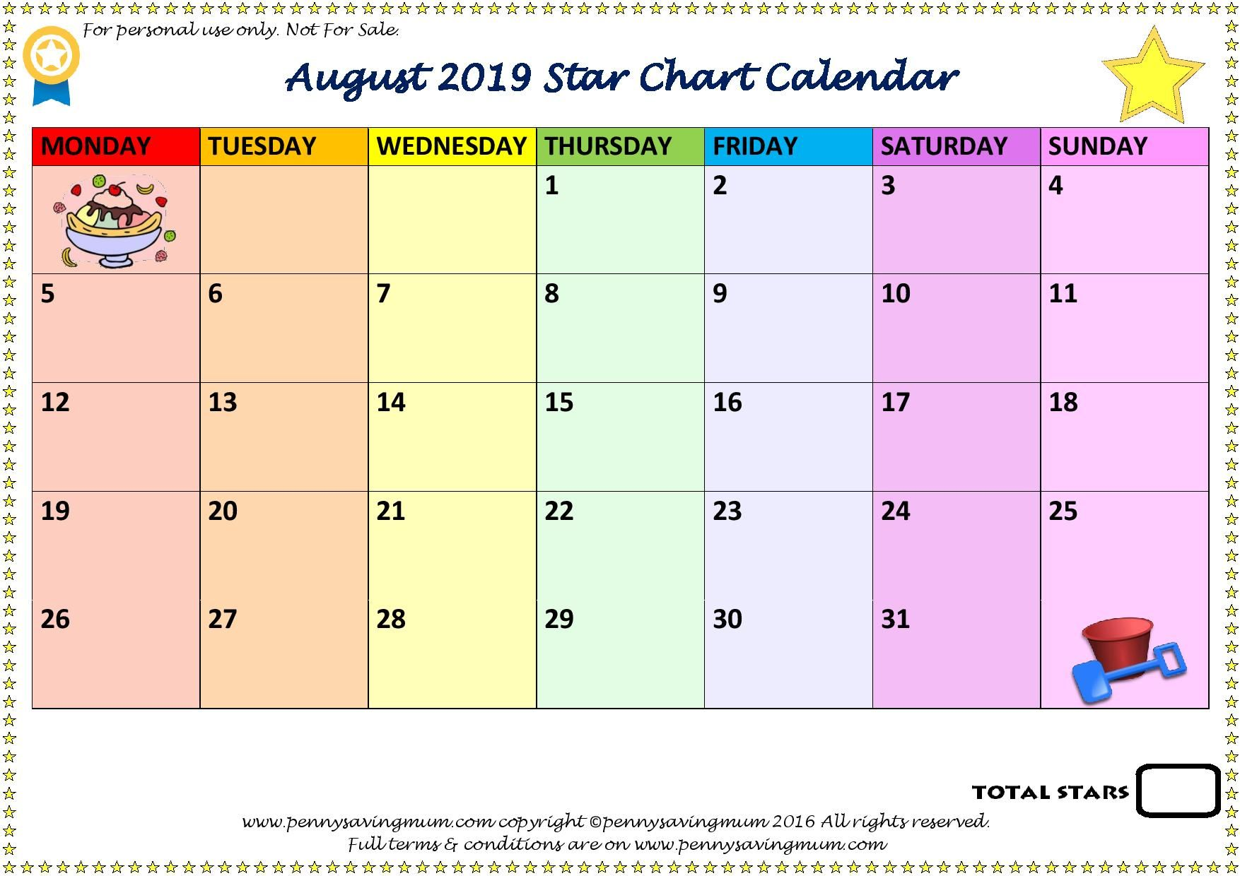 Star Chart Calendar Page  Of  August  Penny Saving Mum