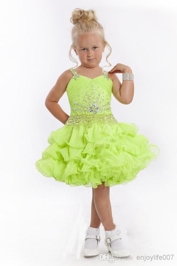 Toddler Dresses Pretty Great Apple Green Spaghetti Lace Up Ball Gown