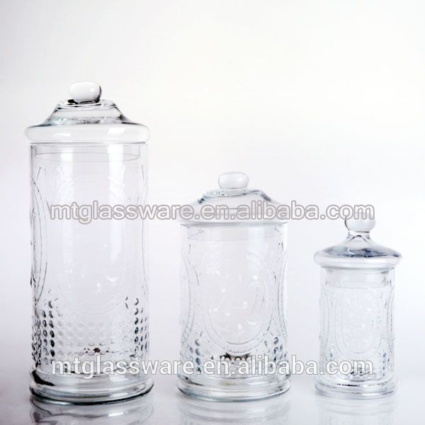Embossed Machine Made Cylinder Glass Decorative Apothecary Jars New Glass Decorative Jars With Lids