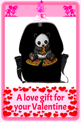 Cute Panda Bear Pizza Lover Animal Messenger Bag