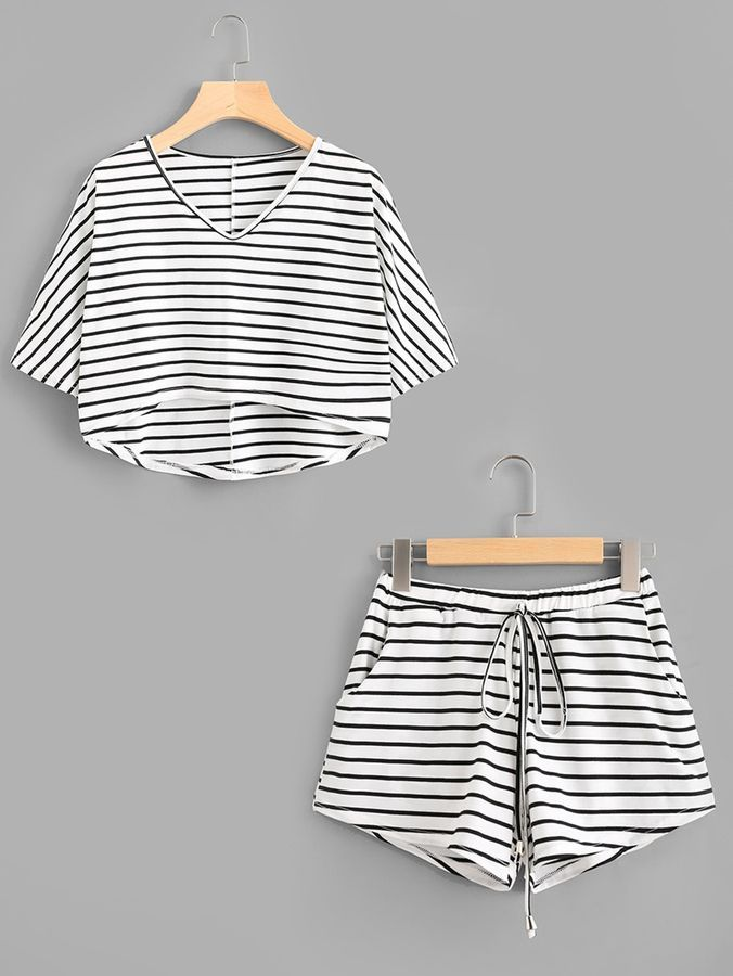 Romwe Striped Dip Hem Tee With Drawstring ShortsL Moda Da Donna a1d39f61d01
