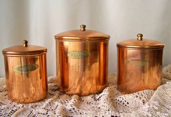 Vintage Copper Canister Set Brass Label Stainless Steel Interior Flour  Sugar Coffee Set Of Three Nesting