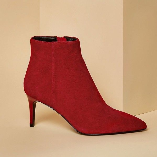 River Island Red Suede Pointed Kitten Heel Boots 120 Liked On Polyvore Featuring Shoes Boots Ankle Bo Red Suede Boots Kitten Heel Boots Boot Shoes Women