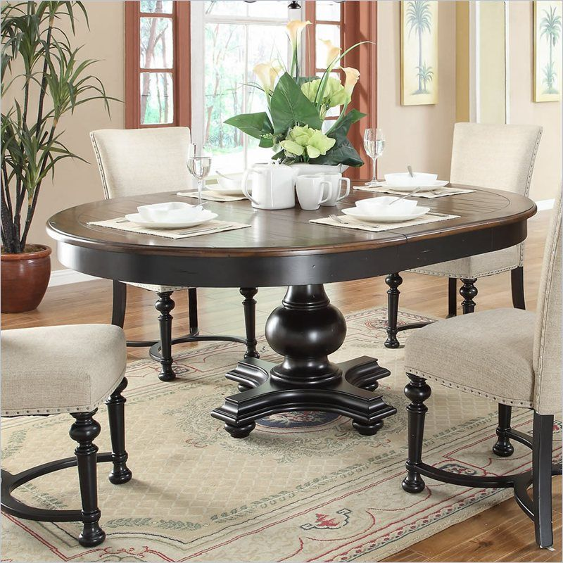 Dining Room: Riverside Furniture Williamsport Round/Oval Dining Table In  Nutmeg/Kettle Black