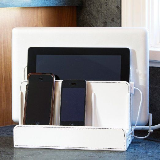Amazon.com: White Leatherette Multiple Device Charging Station And Cord  Organizer For Smartphones,. Contemporary Home OfficesElectronic ...