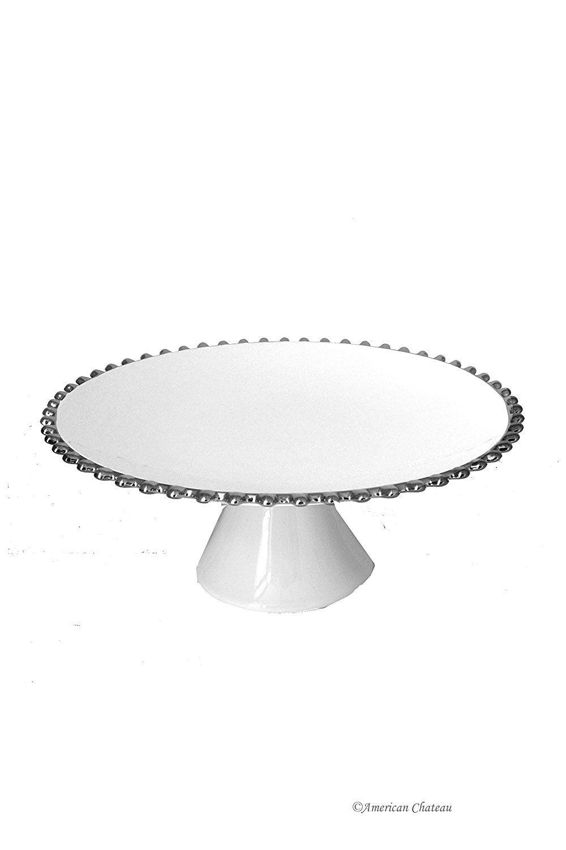 13 white silver bead wedding porcelain round