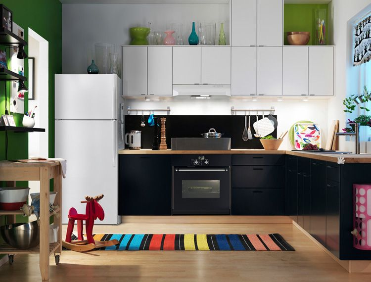 Ikea Kitchen Cabinets Black ikea kitchen-different color cabinets.natural wood or grey and