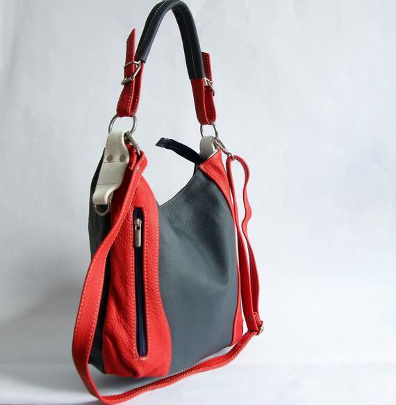 1d4f28d33828 Red Blue LEATHER HOBO Bag - SHOULDER Bag - Crossbody Purse for Woman - Everyday  Leather Handbag