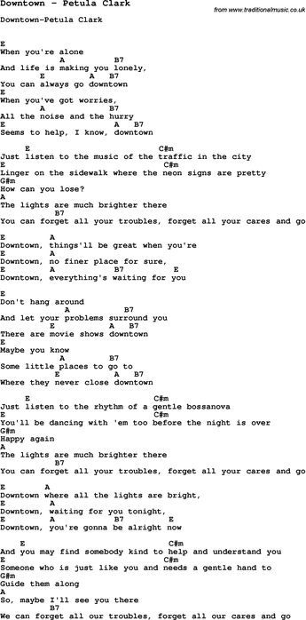 Song Downtown by Petula Clark, with lyrics for vocal performance and ...
