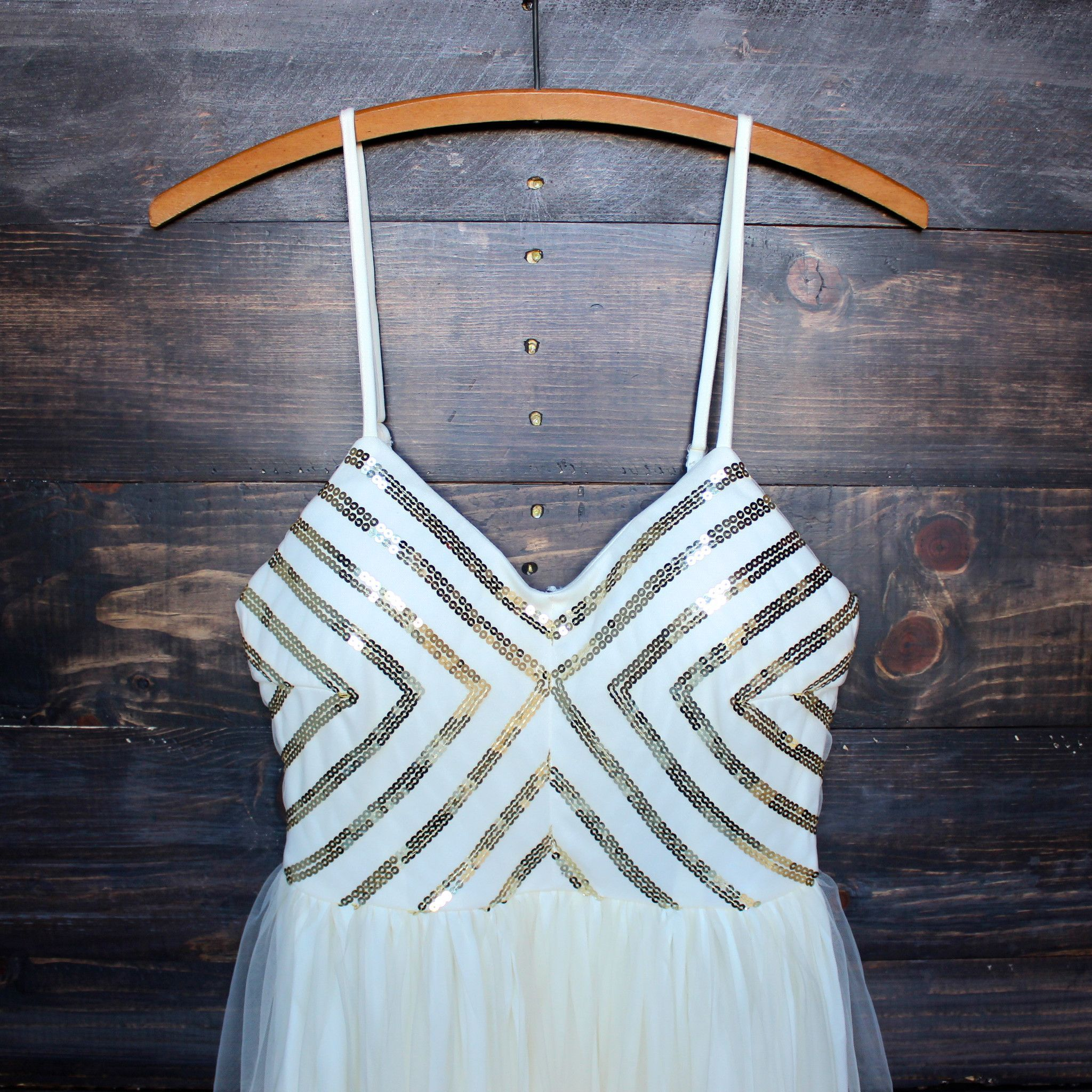 Chevron sequin darling party dress with tulle skirt cream sequin