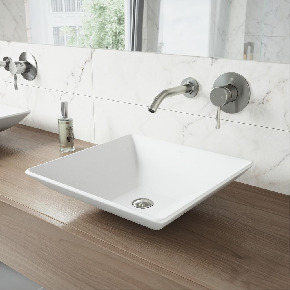 Hibiscus White Matte Stone Vessel Bathroom Sink and Olus Brushed