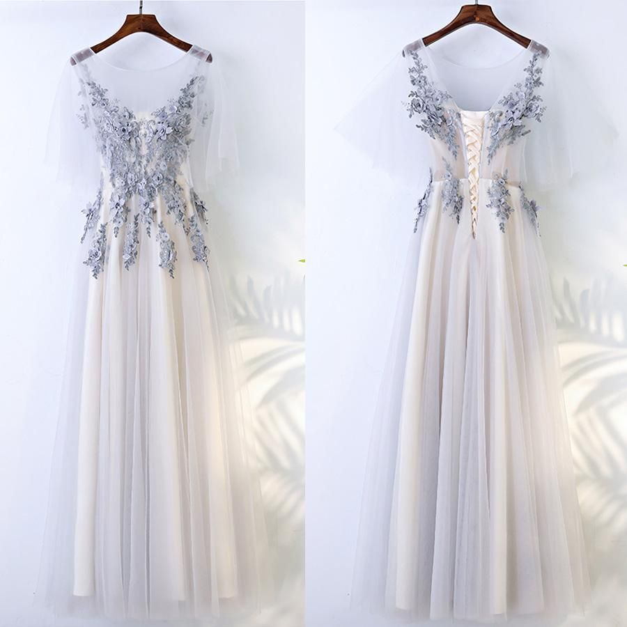 Beautiful half sleeves tulle applique elegant cheap long prom
