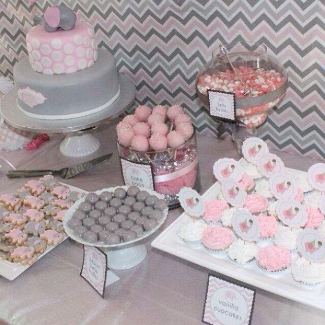 Gianna S Pink And Gray Elephant Nursery Reveal: Ella's 1st Birthday. Dessert Buffet. Elephant Theme