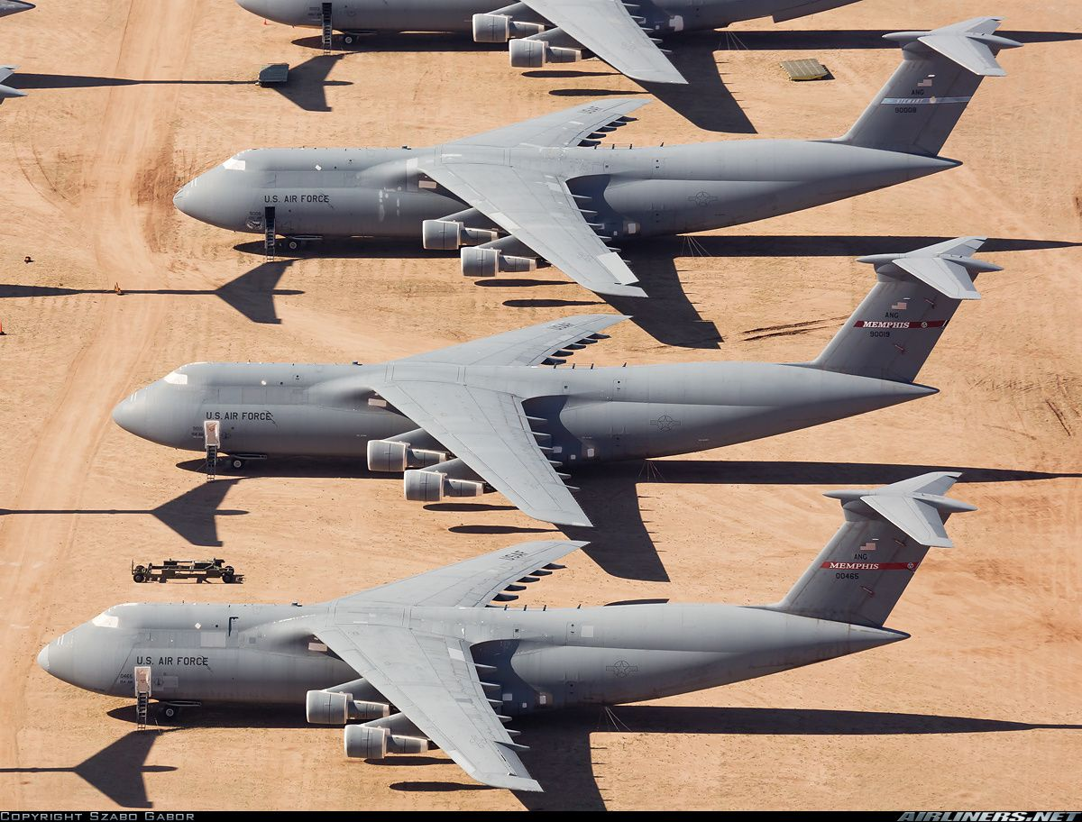 A top down view of some C5A Galaxy's